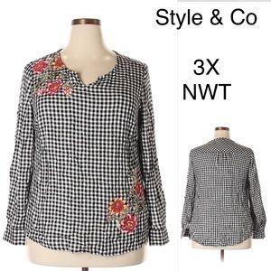 Style & Co NWT Boho Check Plaid Floral Tunic 3X